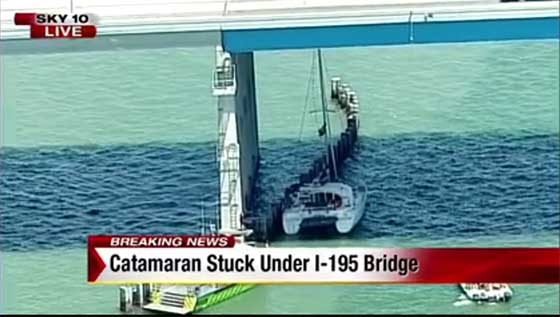 Catamaran Trapped Under Miami Bridge
